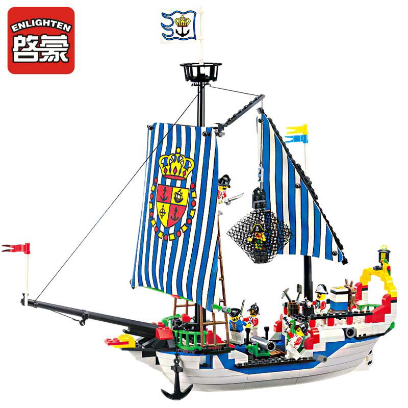 305 Enlighten Pirate Series Pirate Ship Royal Warship Model Building Blocks DIY Action Figure Toys For Children Compatible Legoe 1700 sluban city police speed ship patrol boat model building blocks enlighten action figure toys for children compatible legoe