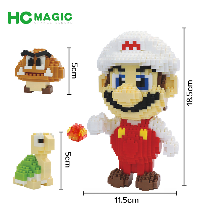 HC Magic building blocks Big size 4in1 Super Mario Cartoon Building toys Auction Figures Anime Model Toys for Kids Cute Gifts