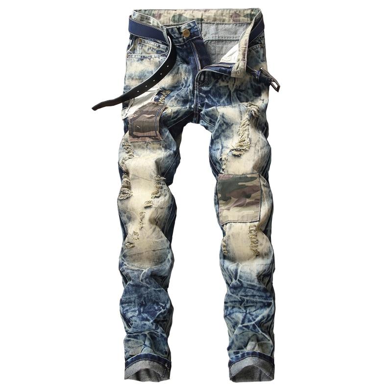 Brand Designer Men Biker Denim Jeans Motorcycle Camouflage Patchwork Ripped Jeans Pants Male Vintage Blue Cotton Trousers