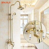 Fashion Gold Plated Shower Rose Gold Shower Set Antique Copper Faucet Blue And White Porcelain Shower