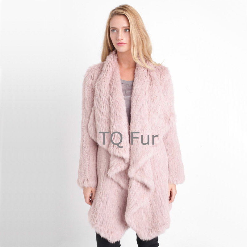 Real Fur Overcoat Rabbit Fur Coat Knitted Rabbit Fur Long Coat Jacket Waterfull Overcoat Winter Women Quality A