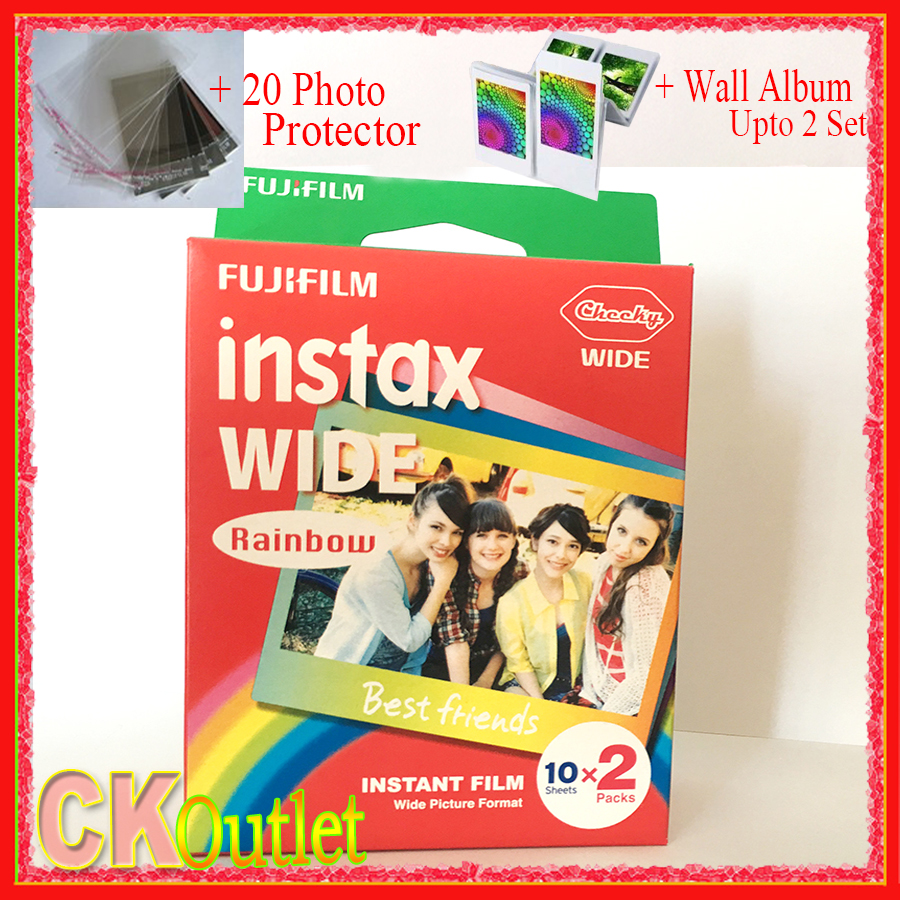20 Sheets Fujifilm Instax Wide Rainbow Free Gift Valid Until 2019 3 Pack Film Twin For Polaroid Instant Camera 300 200 210 100 500af In From Consumer