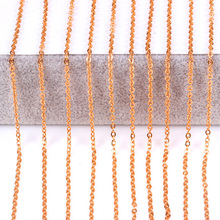 10pcs/lot Width 2mm/1mm Cut Rolo Link Chain Rose Gold/Gold/Steel Color Chains Necklaces