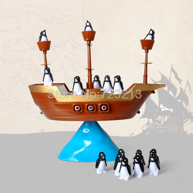 Пиратский корабль балансировки Пингвин игровой стол Семья игры Игрушки-приколы образования Игрушечные лошадки для детей