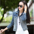 Бесплатная Доставка Весна Лето 2017 женская Джинсовая Куртка Корея Стиль джинсы Пальто Оптовая Ковбой Куртки Для Женщин Sml XL
