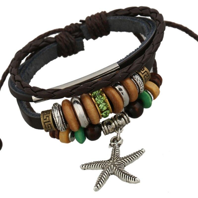 Neptune Pendant Holidays Bohemia Style Leather Bracelets Handmade Beaded Braided Woven Women Bangles Genuine Leather Wristabnd