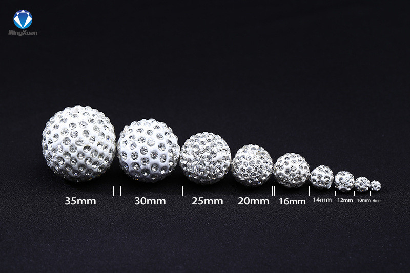 Mingxuan 50pcs/lot 4/6/8/10/12/14/16mm Crystal Beads Disco Ball Diy For Bracelet Jewelry Making Beads