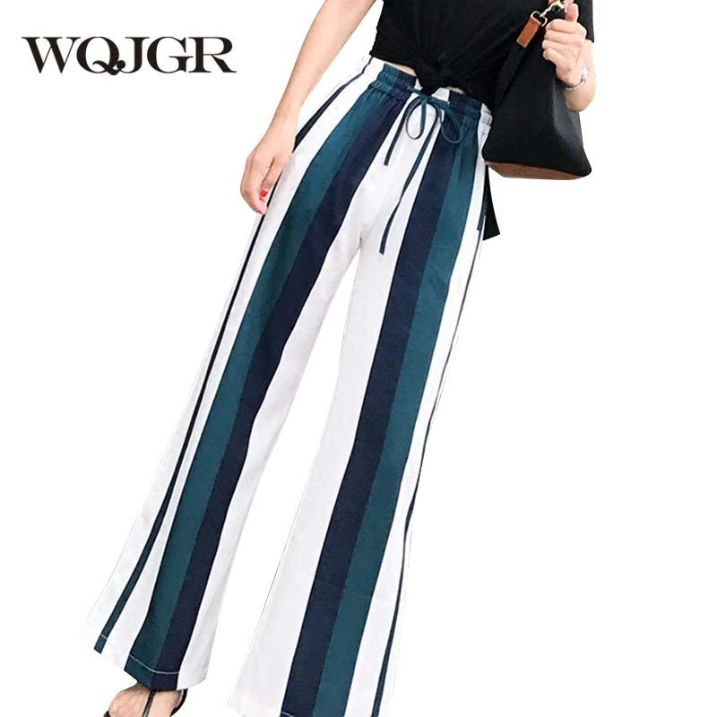WQJGR 2018 Summer New High Waist Trousers   Pants   Fashion Leisure Chiffon   Pants   Woman   Wide     Leg     Pants