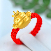 New Pure 999 24K Yellow Gold 3D 11*13mm Smart Crowned Monkey Woman Lucky Knitted Ring