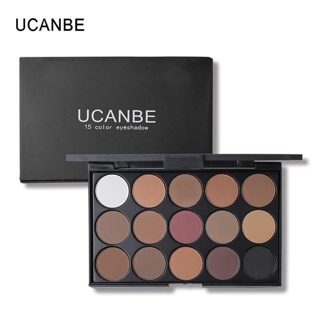 UCANBE marca 15 Color de la tierra brillo paleta de sombra de ojos mate Kit de maquillaje pigmento brillo sombra de ojos desnudo ahumado cosméticos paleta