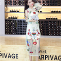 Floral Embroidery Spring Summer dress Women Vintage Elegant Mesh dress Women Bohemian Voile See Through dresses Sexy Vestidos