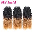 Ms Lula hair Free Shipping 3 bundles kinky curly virgin hair ombre brazilian hair weave bundles	New style