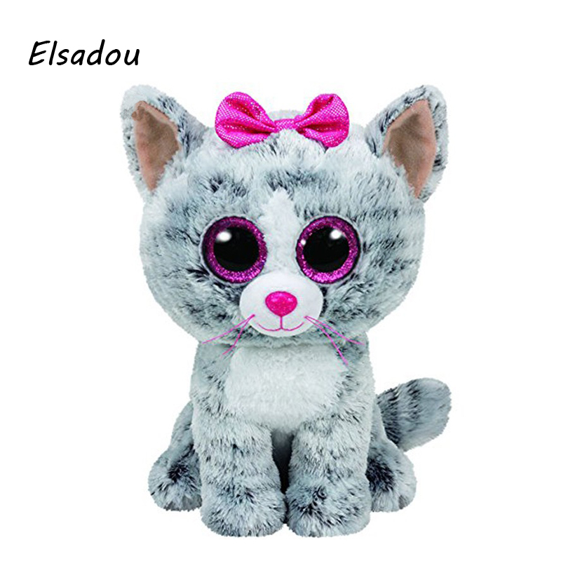 Elsadou Ty Beanie Boos Stuffed Plush Animals Gray Cat With Bow font b Toy b font
