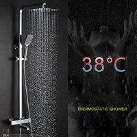 Термостатический душ медь умный контроль температуры смесители для душа ванная комната настенный кран с форсункой набор