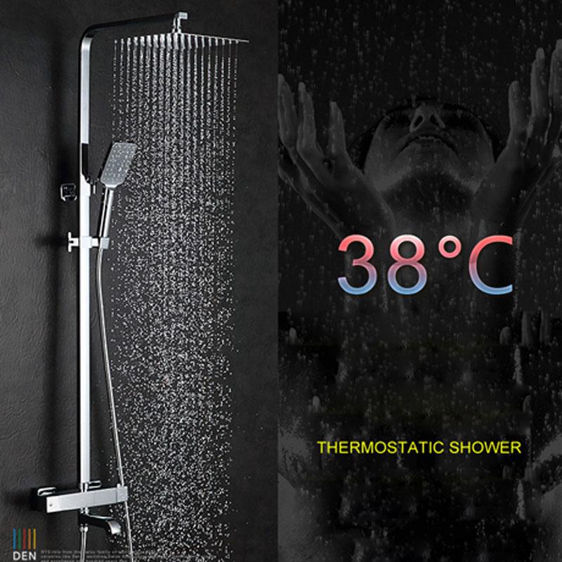 Douche thermostatique cuivre intelligent contrôle de température robinets de douche salle de bain mural buse robinet ensemble