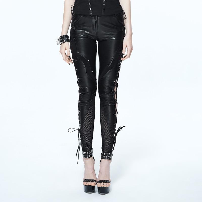 Negro Cuero La Casual Moda Esqueleto Steampunk Para Hueco Pantalones Patrón Pu Con Diablo Las Mujeres Polainas De H1wTSxqTf