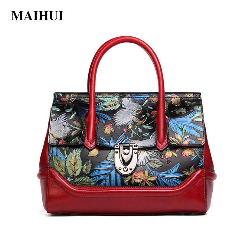 MAIHUI women leather handbags high quality real cow genuine leather shoulder bags 2017 new national ladies embossing tote bag new national embroidery bags high quality women fashion shoulder