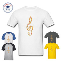 2017 Natural Cotton Rock Style Ornament Music Note Cotton T Shirt For Men