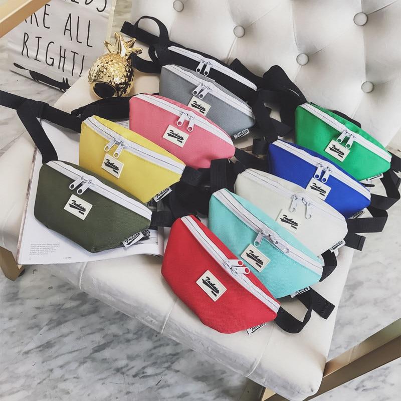 New Child Waist Fanny Bag Kids Multicolour Fashion Light Weight Waist Pack Boy Girls Money Belt Bags Canvas Small Messenger Pack