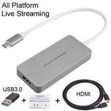 HDMI к type C USB 3,0 1080P ТВ-программы PC игра видео Захват карты рекордер для Macbook Windows Win10 потоковая трансляция в прямом эфире