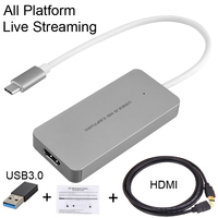 HDMI to Type C USB 3.0 1080P TV BOX Game Video Capture Card Recorder Live Streaming Broadcast for Macbook Mac Windows Win10