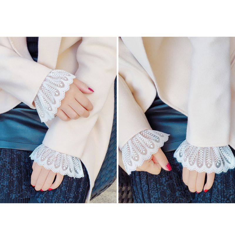 Women Girls Fake Flare Sleeves Floral Lace Pleated Ruched False Cuffs Sweater Blouse Apparel Wrist Warmers With Faux Pearl Butto