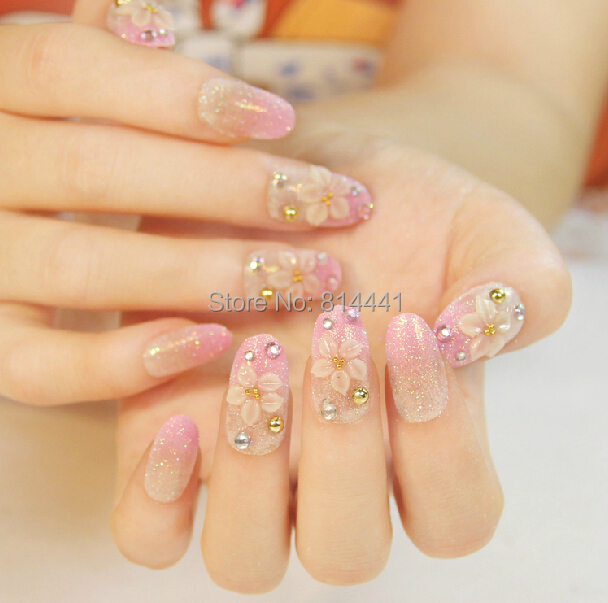 Professional Salon Acrylic Nails 24pcs Jewelry Nail Tips Easy To Apply And Long Lasting