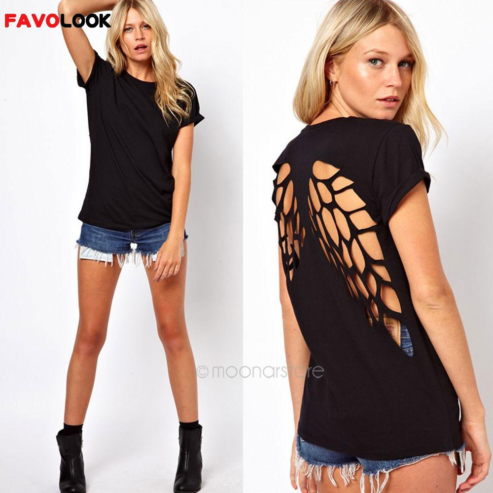 T-Shirt Women Tops Angel-Wings Laser Backless Casual Summer Fashion O-Neck