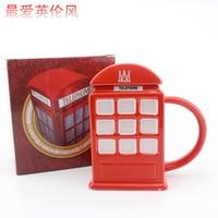 400 ml Kreatywny Brytyjski Czerwony Budka Telefoniczna Kolekcja Memorial Cup Kubki Kubek Ceramiczny Kubek Z Pokrywką Darmowa Wysyłka