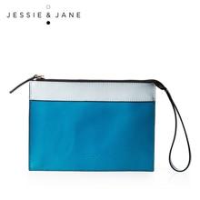 JESSIE&JANE Designer Brand Women's Street Personality Style Split Leather Wristlet Bag