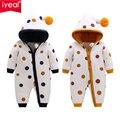 IYEAL/новейшие детские комбинезоны; зимняя одежда для маленьких девочек; милые мягкие теплые флисовые комбинезоны с капюшоном для новорожден...