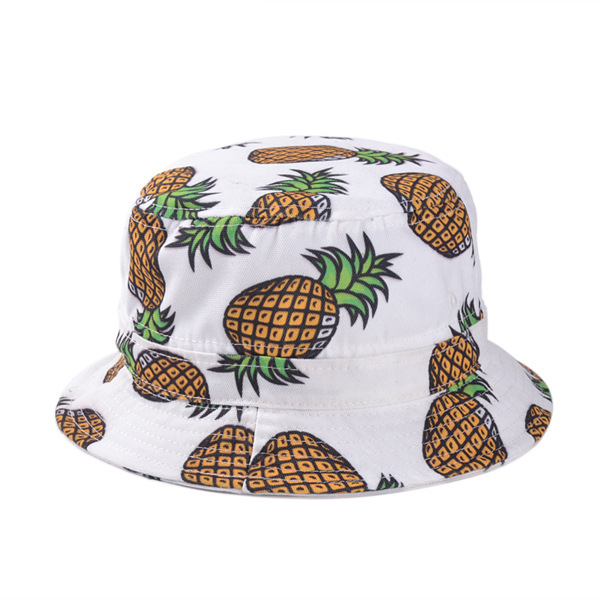 Free Shipping 2017 New Fashion Ladies Summer White Pink Pineapple Printed Bucket Hats Caps For Women Girls
