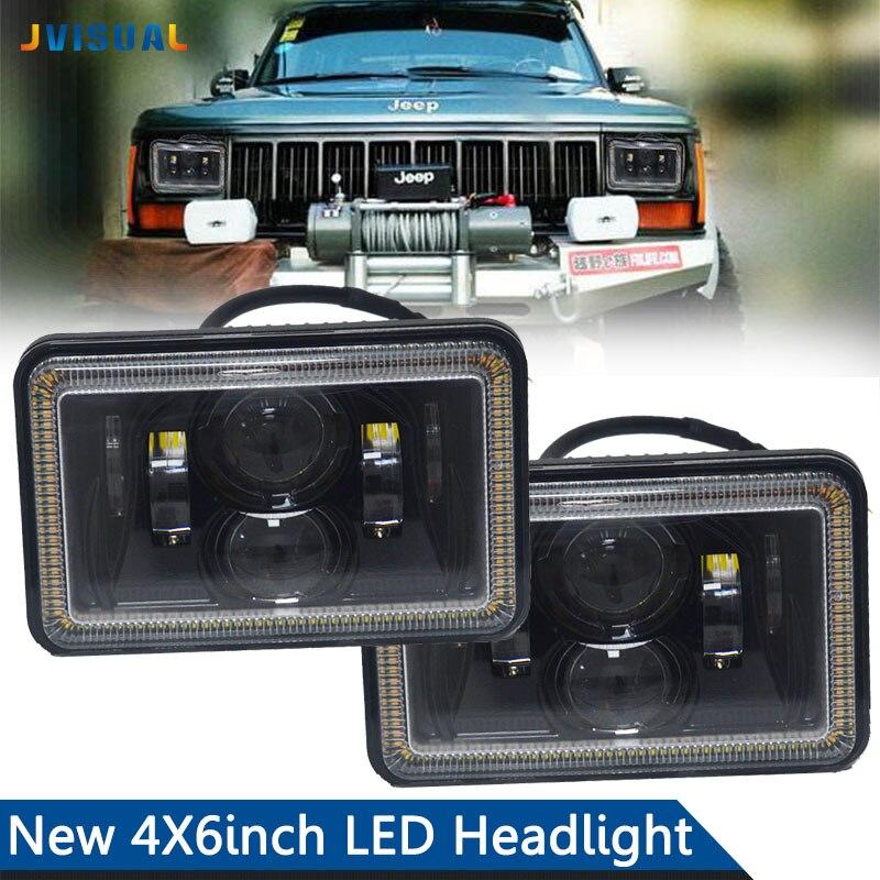 2 pièces 4x6 Inch H4 LED ampoule de phare de camion avec lumière de faisceau haut/bas ampoule de faisceau de LED de mer remplacer projecteur 883 lampe pour Dodge