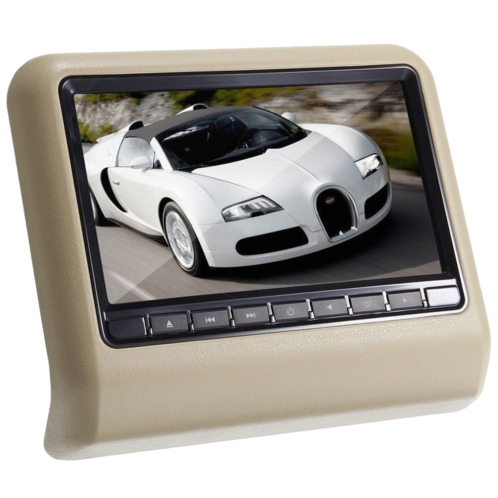 AUTO 9 HD Digital LCD Screen DVD Car Headrest Monitor Beige car headrest dvd player pupug beige universal digital screen zipper car monitor usb fm tv game ir remote control two headphones