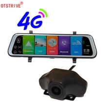 Otstrive 10 дюймов ADAS WiFi Bluetooth Android 8,1 gps двойной объектив DVR Full HD 1080P 4G SIM сетевой видеорегистратор зеркало заднего вида