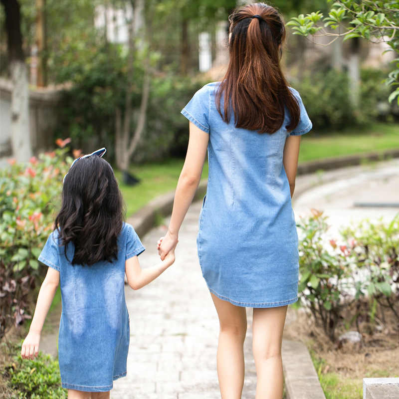 Summer Casual Mom Daughter Dress Family Matching Outfit Mother Daughter Dresses Jeans Girl Denim Dress Mother & Kids Clothes