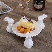 3 кролика и тарелка, белая фарфоровая тарелка для тортов, керамическая креативная домашняя декорация, аксессуары для украшения, чайный кондитерский поднос SZLSM02