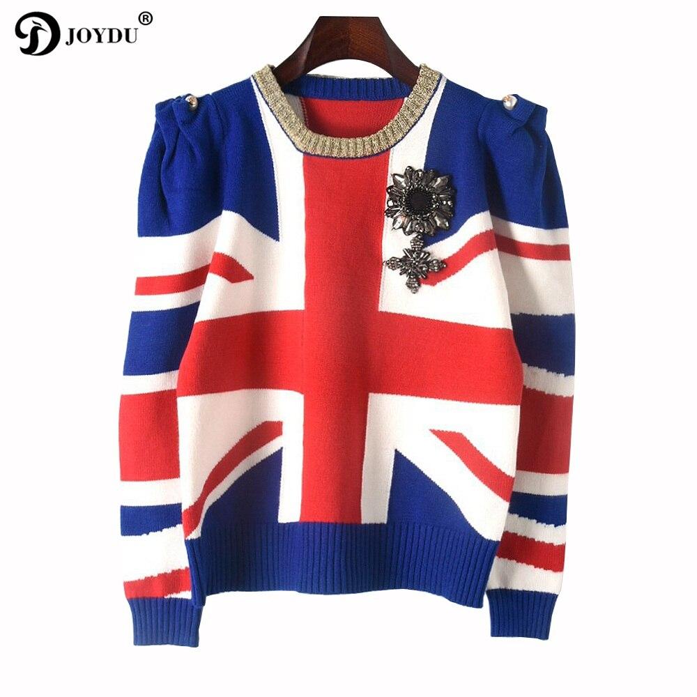 JOYDU Piste Designer Pull 2018 Nouveau Hiver Pull Femmes Drapeau Britannique Jacquard Maillot Décontracté Haussa Les Épaules Badge Pull Tops