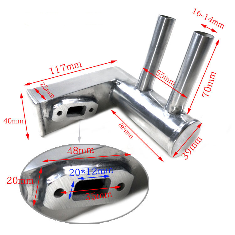 1pcs Aluminum Alloy Rear Exhaust Pipe/ Pitts Muffler for 26-30cc plane DLE30 Engine aluminum water cool flange fits 26 29cc qj zenoah rcmk cy gas engine for rc boat
