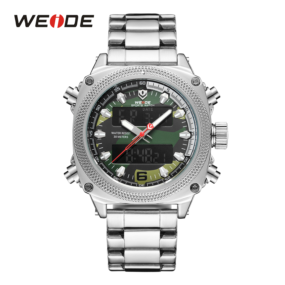 WEIDE Mens Watch Sports Calendar Analog Digital Movement Auto Date Hardlex Silver Stainless Steel Band Military Army Green Watch