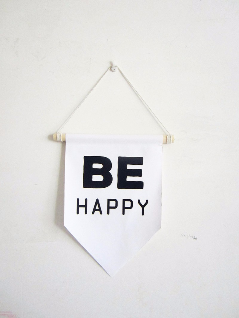 BE happy wall flag with frame,canvas print pennant sign,vintage style wall hanging art for kids room decor