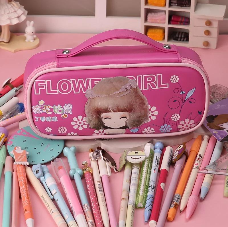 Сумка для карандашей пакет с цветами девочек школьные канцелярские