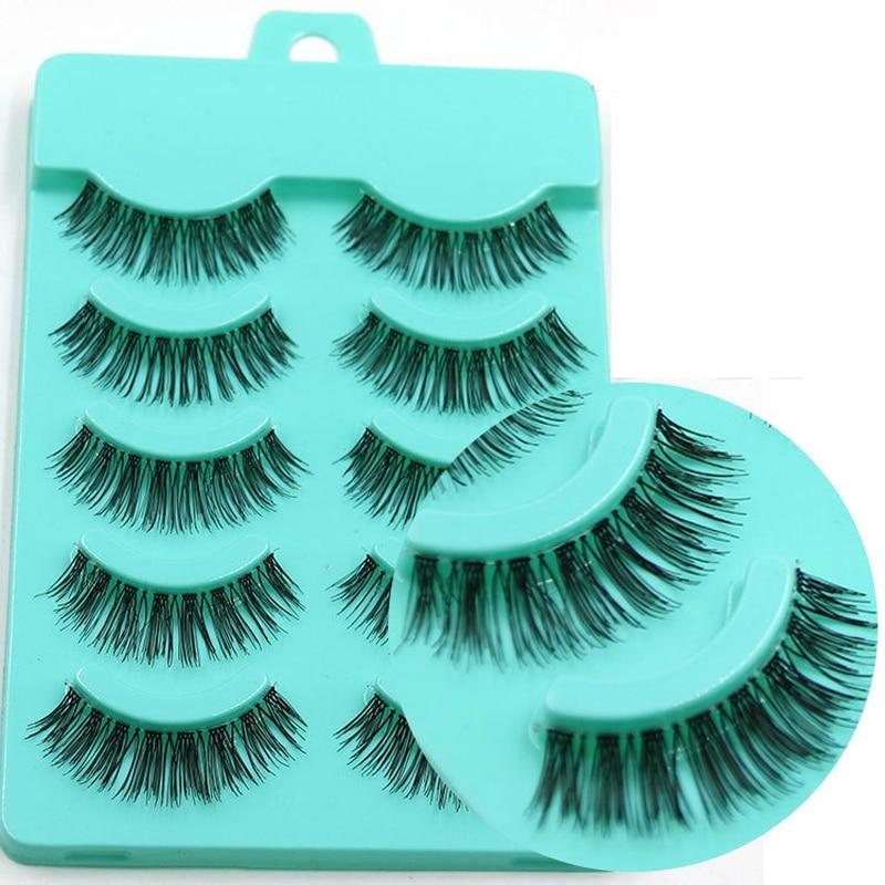 YOKPN Long Fake Eyelashes Man-Made Fibers False Eyelashes Natural Soft Transparent Stems Fake Eye Lashes Extension Makeup Tools