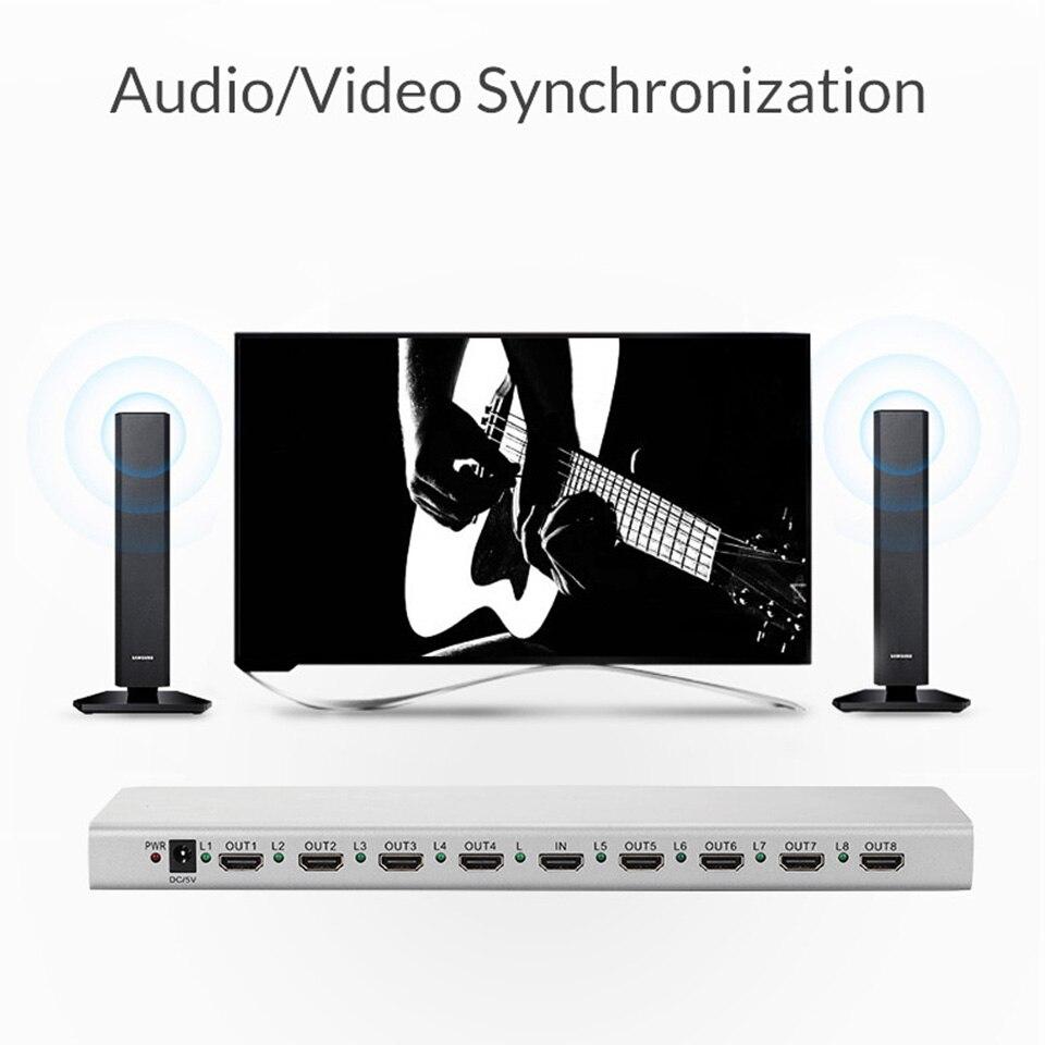 Répartiteur Unnlink HD mi 1X8 HD mi 2.0 UHD 4K @ 60HZ HDCP 2.2 HDR 1 en 8 Out EDID pour smart tv LED mi Box ps4pro xbox one s/x projecteur - 2