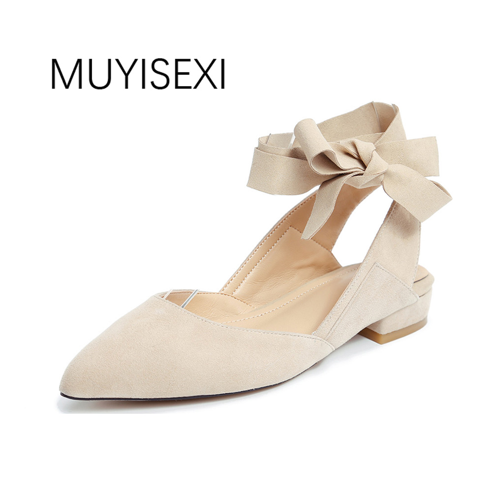 Flat Shoes Women Pointed Toe Slingbacks Genuine leather Suede Women Shoes Lace Up Bow Casual Shoes
