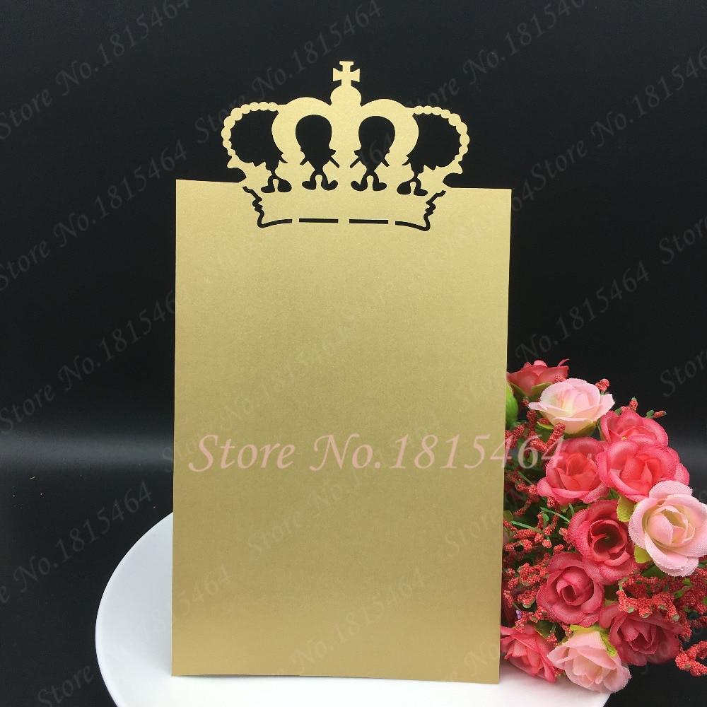 30pcs Hot Sale Crown Menu Cards,Laser Cut Custom Made Design Wedding Handmade Menu Card Invitation Card Party Table Decoration