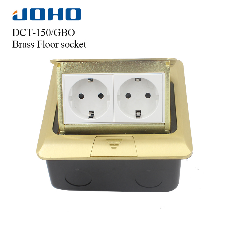 JOHO Socket Pop Up Floor Socket Outlet Box Residential/General-Purpose With 16A European Socket And RJ45 Data Brass Panel brass slow pop up floor socket box with 15a 125v us socket rj45 computer data