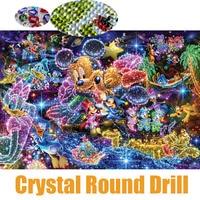 Full 5D Crystal Round Drill Diamond Painting Cartoon DIY Diamond Embroidery Cross Stitch Mosaic Rhinestone Decor