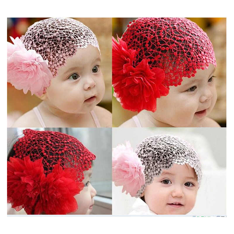 2 Colors Hollow Lace Headdress Large Flower Hair Band Beautiful Baby Princess Christmas Gifts Girls Accessories Bow Flower