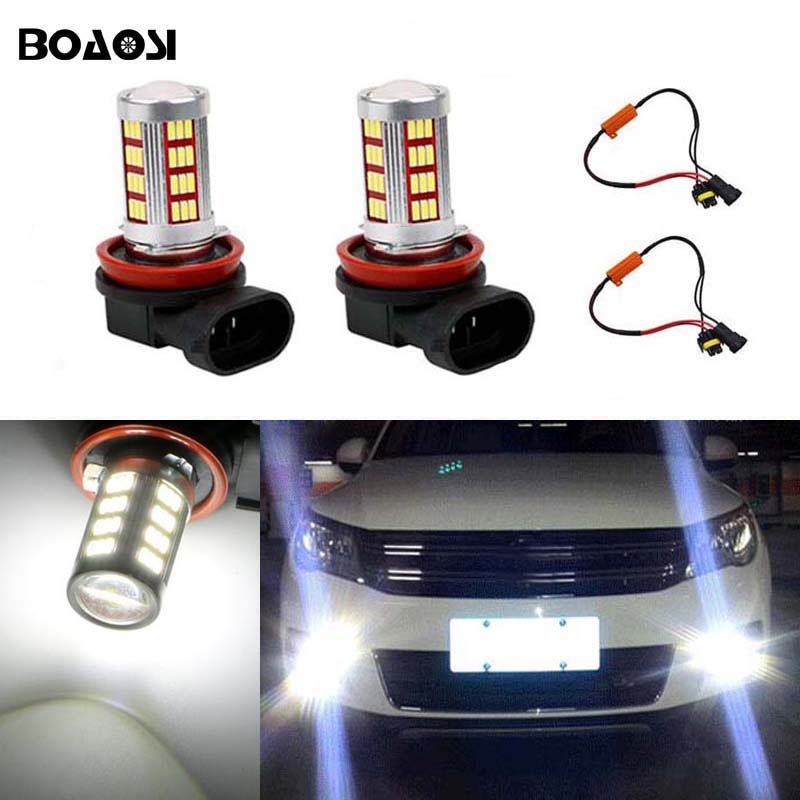 BOAOSI 2x 9006/HB4 LED projector Fog Light bulb No Error For VW Golf 6 MK6 2009-2012 T5 Transporter 2003-2016 Scirocco 08-on